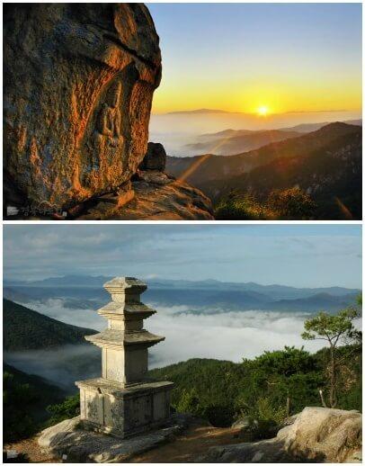 VIAJE A GYEONGJU, COREA - Las architecturas en el monte Namsan en Gyeongju, Corea