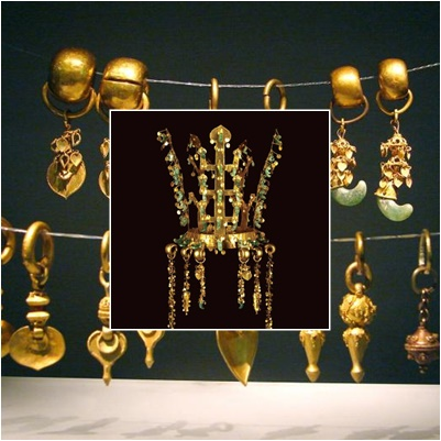 Coronas y aretes de oro, Silla. Gyeongju, Corea del sur