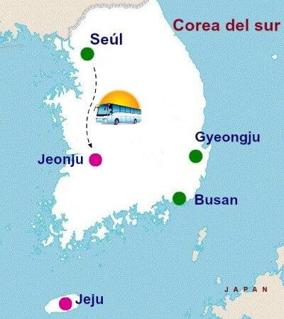 Mapa desde Seúl a Jeonju, Corea del sur